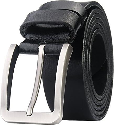 Blasea Full Grain Leather Casual Style Pin Buckle Jeans Belts for Men 653 Black 115cm