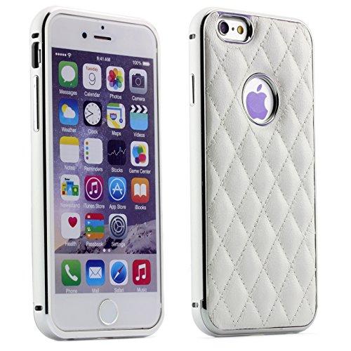 ScorpioCover Aluminium Schutz Hülle kompatibel mit iPhone 6 / 6s Stepp Erscheinungsbild Alu Schutz Metall Back Cover Schale mit Muster Weiss/Creme