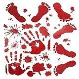 Leixi 2Pcs Autocollants de Halloween,Autocollants d'empreinte de Main sanglante d'empreinte de la Main, décorations de fête de Halloween Vampire Zombie Autocollants de PVC