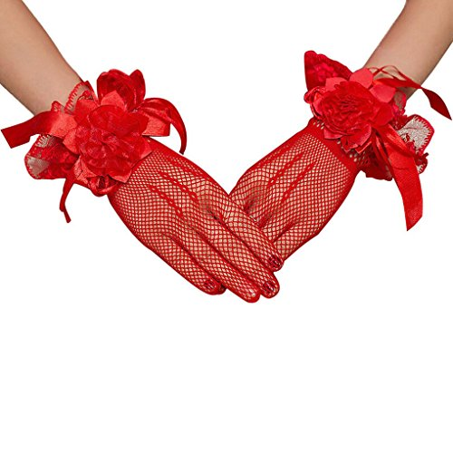 BXT Vollfinger Spitze Handschuhe mit Blumen Kurze Handschuhe Brauthandschuhe Handschuhe Mesh Spitzenhandschuhe Hochzeit Netzhandschuhe, (Rot Kurze Handschuhe Spitzen)