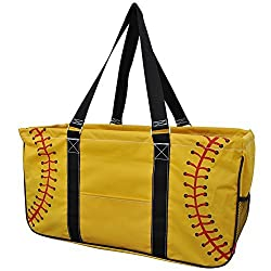 Softball Yellow Print NGIL Utility Tote Shopping Bag