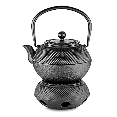 Velaze Théière en Fonte Japonaise, Email Noir à l'Intérieur, Teapot du Thé Noir de 800ML, Haute Poignée, Sain et Asiatique avec Un Panier INOX
