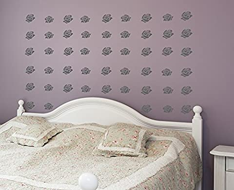 Decoramo Wall Stickers Wall Pattern-Roses Pvc Grey 60 X 60 cm X 0.1 cm