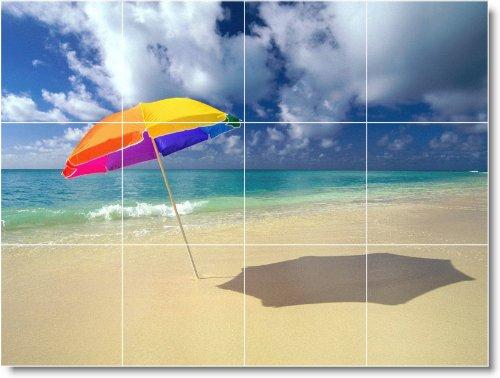 PLAYA FOTO MURAL AZULEJO B056  12 75X 43 18CM CON (12) 4 25X 4 25AZULEJOS DE CERAMICA