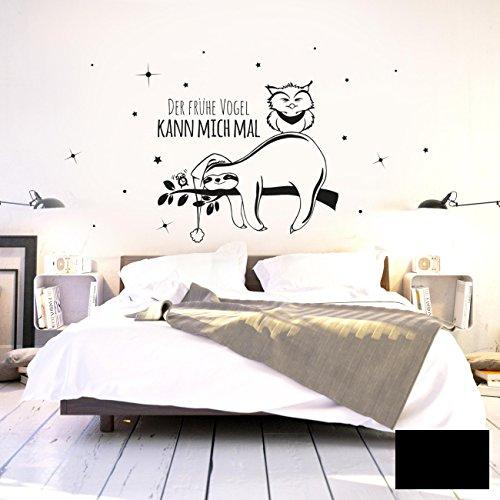 ilka parey wandtattoo-welt Wandtattoo Wandaufkleber Wandbild Faultier Eule Der frühe Vogel kann Mich mal M2045 ausgewählte Farbe: *schwarz* - ausgewählte Größe: *XL - 100cm breit x 54cm hoch*
