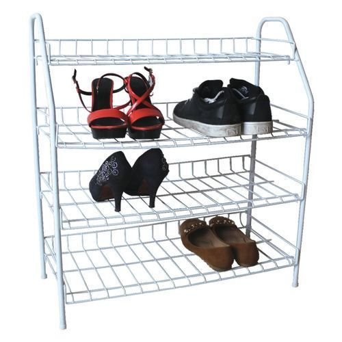 Vinyl Schuh Organizer (YanHongUk150730-1536 Schuhständer, 4 Etagen, Vinyl, 4 Etagen, Schuh-Organizer, hite Shoe beschichtet, Draht beschichtet, mit Ablagefach)