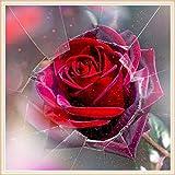 CJGD DIY Glas rote Rose Zimmer Hause 5d Diamant malerei kreuzstich kristall mosaik Handwerk Strass DekorationStickmuster, 50x50 cm