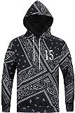 Pizoff Unisex Hip Hop Sweatshirts Druck Kapuzenpullover mit Farbkleks 3D Digital Print Paisley Bandana Y1760-13-L