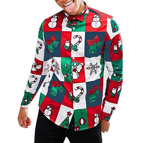 htskostüm,Weihnachtsmotiv dekorative Geschenke Glocken Lebkuchen Drucken Revers Hemd Lustige Sweatshirts Weihnachten Tops ()
