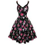 Hearts and Roses London Negro Rockabilly Floral Calavera Vintage Swing Vestido De Fiesta - algodón, Negro, 3% elastano 97% algodón, mujer, 8