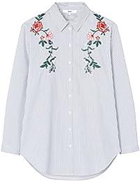 FIND Damen Hemd mit Blumenstickerei