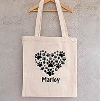 """Tote Bag """"Pattes de chiens"""" à personnaliser - sac chiens à personnaliser - sac shopping - sac de course - sac personnalisé - tote bag personnalisé"""
