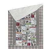 Designer Bettüberwurf Tagesdecke Old England mit Fell Patchwork in Leinen-Optik knitterfrei, Größe:250x250 cm / Doppelbett