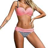 GWELL Damen Streifen Plus Size Bikini Übergröße Badeanzug Badebekleidung Strandkleid rosa XL