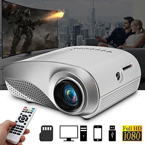 SO-buts RD-802 Mini Beamer,3D Full 1080P Video LED Mini HD Projektor, Mini Tragbarer Projektor Unterstützung HDMI,USB Kino Multimedia, Heimkino Kino Multimedia Projektor (Weiß)