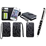 Apple iPhone 5C Glitter Sparkly Floral Print Premium Leather Book Magnetic 2 in 1 Flip Wallet Case Cover With Detachable Internal Hard Case + Screen Protector & Polishing Cloth (Black Magnet)