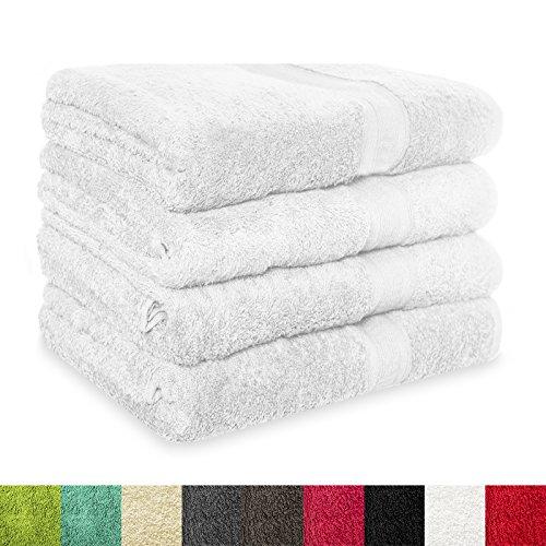 4 tlg. Set Badehandtücher MAGIC SOFT | 100x150 cm | OEKO-TEX Standard 100 | Premium-Qualität | große Handtücher / Badetücher für Damen, Herren und Kinder (weiß)