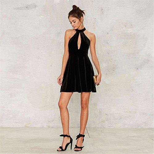 Sexy Sans Manche Encolure Haute et ras de cou Licou Licou Velours Mini Courte A Line Une Ligne A-Ligne Patineuse Patineur Évasée Dress Robe Noir Noir