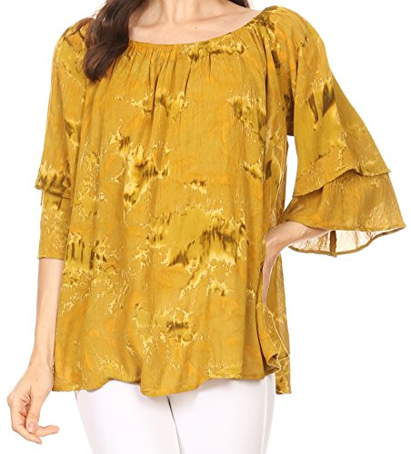Sakkas Flora Cravate Aquarelle Dye Blouse Double Raglan Blouse Moutarde