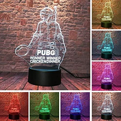 FSKJXYD Cool 3D New World Game Playerunknown Schlachtfelder Lampe Pubg Gewinner Chicken Dinner Pan 7 Farben Ändern Led Nachtlichter