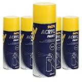 5 x 450ml MANNOL 9674 Acryl Paint Black / Autolack Spray Schwarz