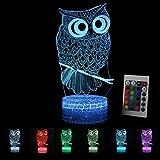 LED Nachtlicht 3D Kinder Stimmungslicht Fernbedienung Nachttischlampe 7 Farben ändern Touch Switch Schreibtisch Lampen Geburtstag Weihnachtsgeschenk Eule