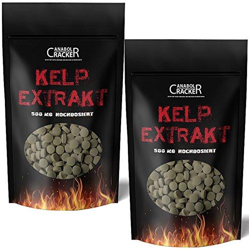 1000 Tabletten - Kelp Extrakt, 500mg Kelp mit 150mcg Jod/Tablette, für Veganer geeignet, natürliche Quelle für Jod - Sea Algen - Entgiftung