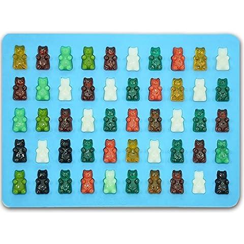 Gummy Bear Candy Molds, cioccolato in silicone 50cavità per cubetti di ghiaccio, Partito, cottura e sapone, Wedding Favor Maker & bambino doccia forniture con facile da riempire contagocce