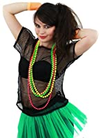 LADIES 80S MESH TOPS FANCY DRESS ACCESSORY 1980'S RAVE TSHIRT FISHNET ROLLER DISCO 80'S CLUBBING IN BLACK UK SIZE 4-22