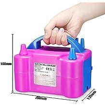 Inflador de globos electrico MTKD, Bomba electrica para Inflar Globos para Fiestas y Eventos. Potencia 600W Certificado CE. de Color Fucsia.