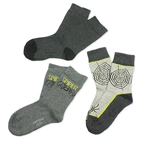 3 Paar CAMANO Jungen Socken Strümpfe, 3er Pack, Socken, Spider, anthracite grau, CA 3832, Größe:39-42