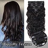 TESS Clip in Extensions Echthaar guenstig Haarverlängerung Doppelt Tressen für komplette Haarextension 8 Teile 18 Clips Gewellt 7A Dick Hair