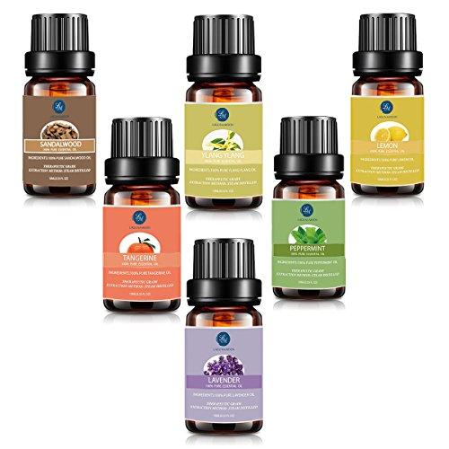 Lagunamoon Kit Aromathérapie Huile Essentielle Lot de 6pcs-Huile Essentielle Bois santal, ylang ylang, citron, mandarine, lavende, menthe poivrée, 10ml