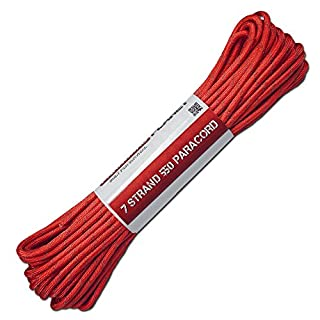 ATWOOD ROPES 50FT 550Reflektierende Paracord 7-Strand-Multiple Farben, Reflective Imperial Red