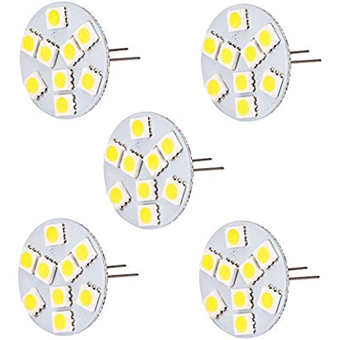 HERO-LED espalda pasador T3G4Base Bi Pin JC LED halógena bombilla de repuesto de Xenón, 12V CA/CC o 24V DC, lámparas de escritorio, luces de techo, luces Puck, debajo del mostrador luces, Pro–Regleta de luces, marina, barcos, yates, acento, pantalla, paisaje y la iluminación General, 9SMD LED, 15–20W reemplazo, 5-Pack, blanco cálido, G4, 1.80 wattsW 12.00 voltsV
