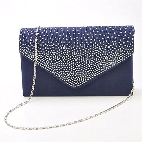 Bolso Bolsa de Hombro Hanbag Embrague Novia Fiesta Banquete de Noche Elegante Diamante de Imitación Para Mujeres - Azul Profundo, Un tamaño