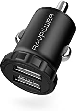 RAVPower Super Mini Auto Ladegerät 2-Port 24W 5V/4,8A USB Kfz Ladegerät mit Aluminium-Legierung Gehäuse iSmart Technologie für iPhone X XS XR XS Max 8 7 6 Plus, iPad Pro Air Mini, Galaxy S9 S8 Plus, LG, Huawei, HTC, Bluetooth Kopfhörer, Mp3 usw.