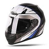 187204S08 - Nitro N2000 Pioneer Motorcycle Helmet S Black White Blue (08)