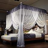 RZJF Moskitonetz - Bett Prinzessin Prinzessin Wind Palace Netze Dreitürige Edelstahlhalterung Fettgrau 1,8 * 2,2 M Bett