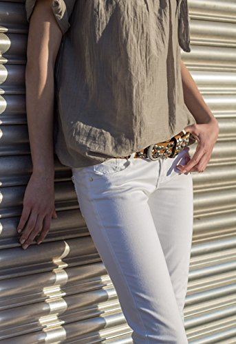 CASPAR - Ceinture cloutée vintage pour femme - Intérieur cuir - plusieurs coloris - GU223 cognac