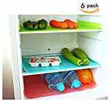 Refrigerator Mat, Anti Slip Fridge Mats by House of Quirk Set of 6 (Blue)