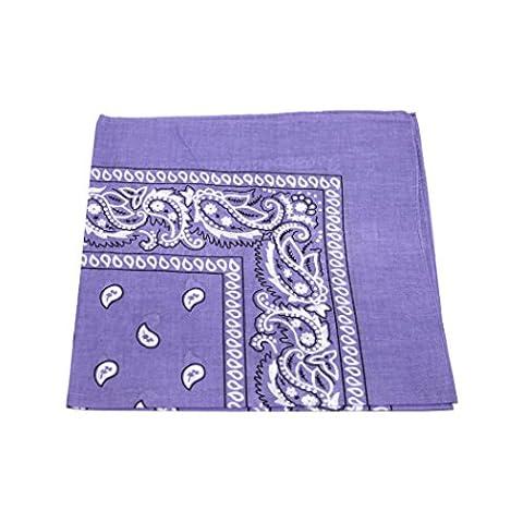 PURPLE cotton bandana scarf SQUARE BLACK WHITE PAISLEY