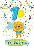 12 Einladungskarten 1. Kindergeburtstag Jungen Mädchen Tiere erste Geburtstag Geburtstagseinladungen Einladungen Geburtstagsparty Kartenset Löwe