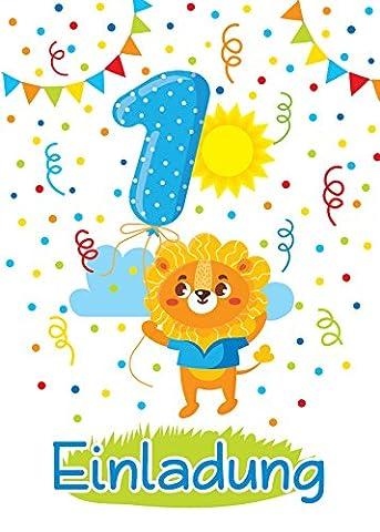 8 Einladungskarten zum 1. Kindergeburtstag für Jungen / bunte Einladungen zum Geburtstag für Jungen