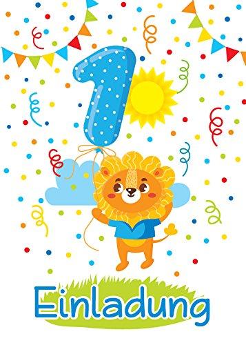10 Einladungskarten 1. Kindergeburtstag Jungen Mädchen Tiere erste Geburtstag Geburtstagseinladungen Einladungen Geburtstagsparty Kartenset Löwe (1. Geburtstags-einladungen-mädchen)