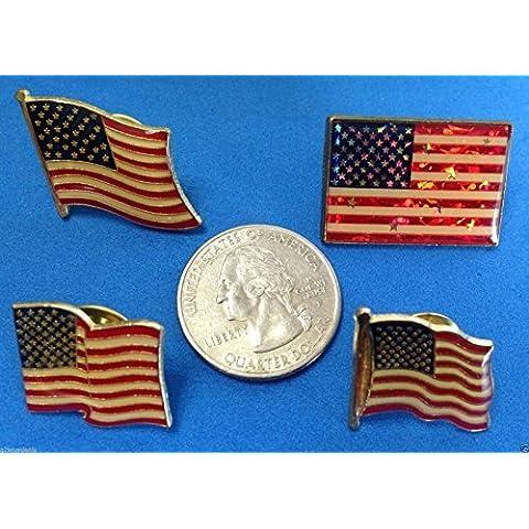 Lot of 4 American Flag Patriotic Pin,