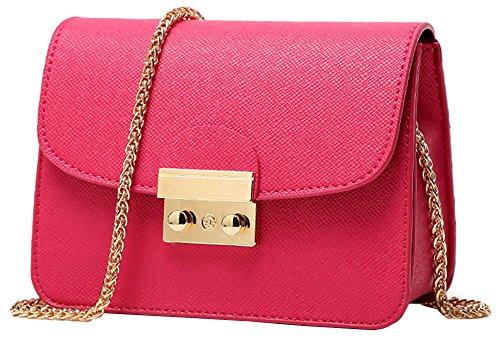 Borse a tracolla donna ragazza, ninjia borsetta tracolla piccole con catena cross-body bag in pu pelle per partito shopping viaggiare, rosa rossa