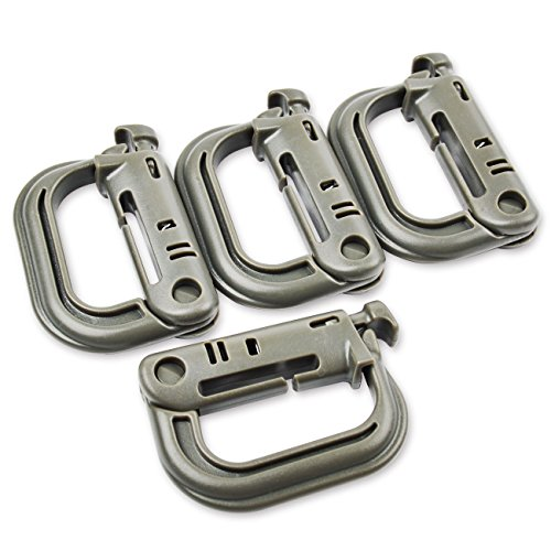 Moschettoni di alta qualità, forma a D, plastica ABS, 4 pezzi Nero Nero - nero- grigio