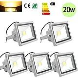 Hengda® 5 Stück 20W SMD LED Strahler Fluter IP65 Außen Flutlicht Leuchtmittel Baustrahler Scheinwerfer warmweiss Wandstrahler