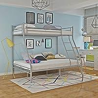 Panana Triple 3 Sleeper Metal Bunk Bed Top Single Bed Bottom Double Bed forChildren Kids Bedroom